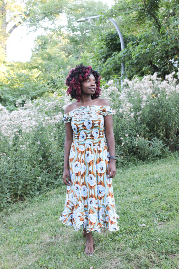 Off the Shoulder Ankara Dress