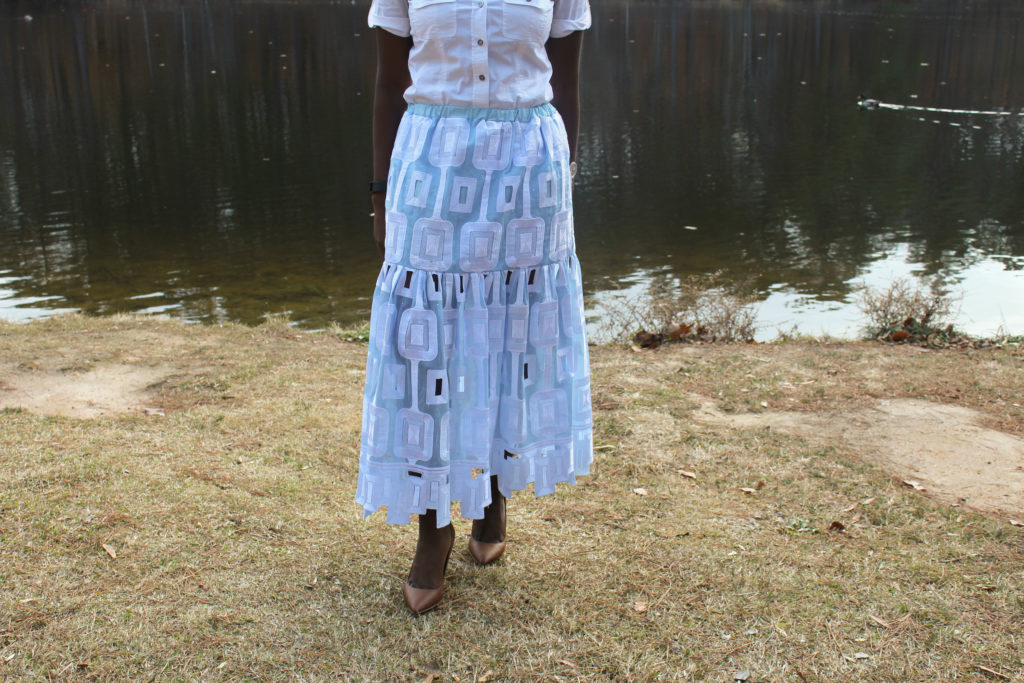 African Lace Midi Skirt || CancanRoynelle.com