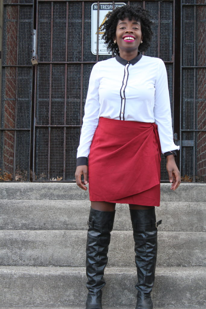 Red Wrap Skirt || CancanRoynelle.com