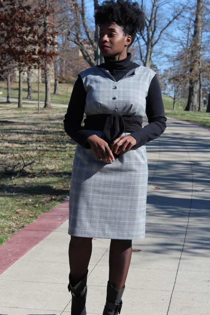 Grey Plaid Dress