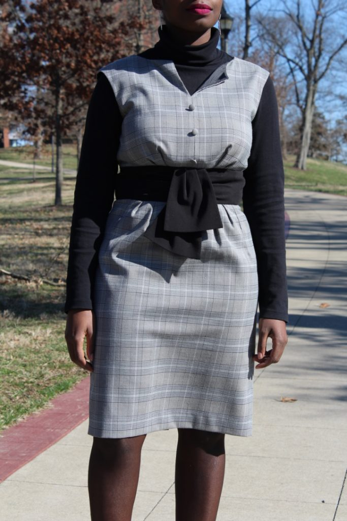 Grey Plaid Dress || CancanRoynelle.com