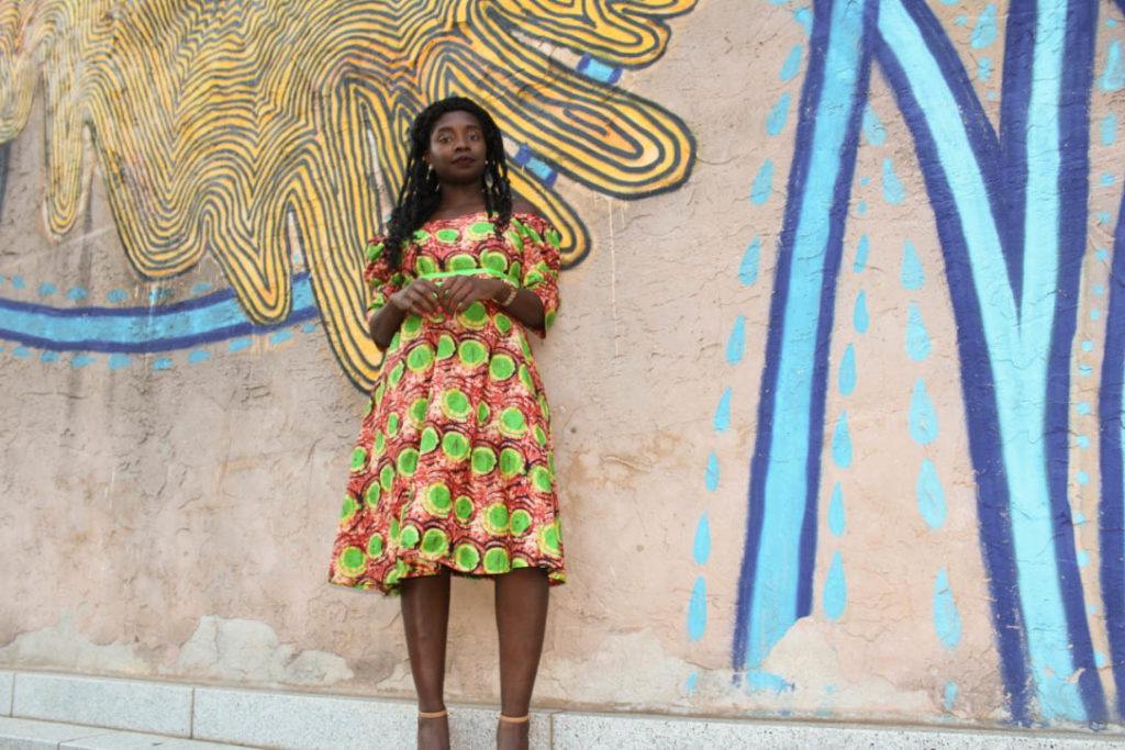 African Outfit: Off the Shoulder Flare Dress