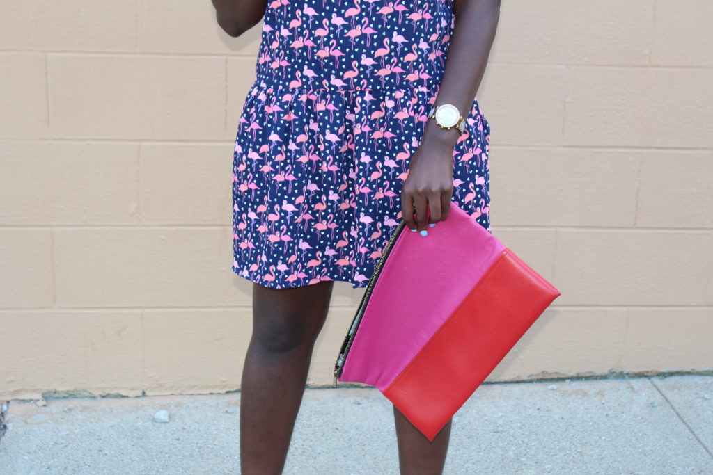 Flamingo Print Drop Waist Dress