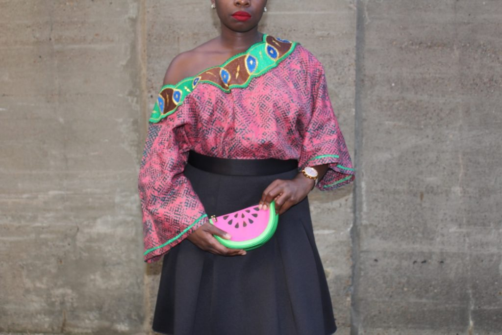 African Outfit: Pink Off the Shoulder